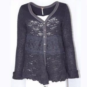 Free People Button Cardigan Med Alpaca Blend Black
